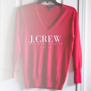 J.CREW V Neck Wool Red Sweater XS